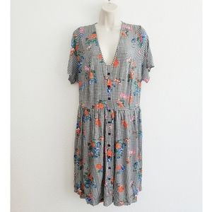 Asos Checkered Floral Stretchy Summer Dress